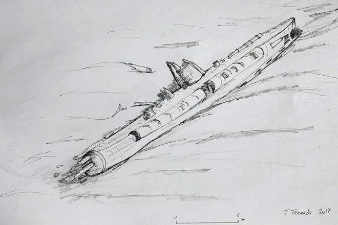 Sketch of the wreck of the UB-29